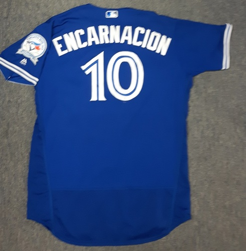 Authenticated Game Used Jersey - #10 Edwin Encarnacion (April 9, 2016). Encarnacion went 1-for-4. Size 50