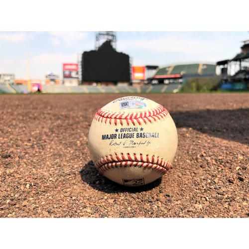 Photo of Colorado Rockies Player-Collected Baseball - Franchy Cordero - Home run - 4-23-18