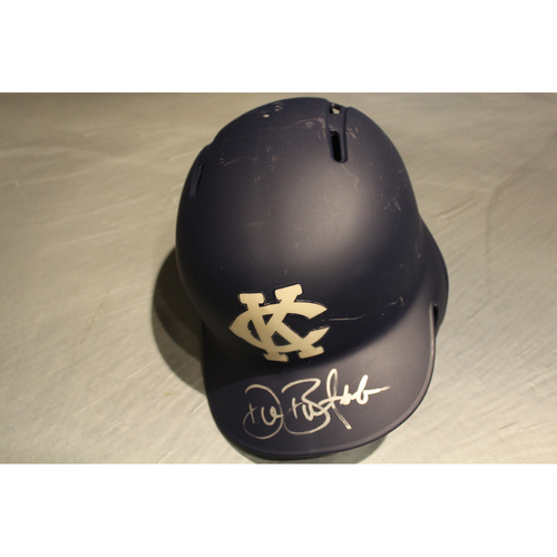 Photo of Game-Used & Autographed Batting Helmet: Drew Butera (DET at KC - 5/6/18)