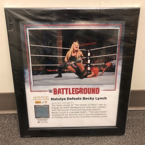 Photo of Natalya SIGNED Battleground 2016 Signature Series Ring Canvas Plaque (#1 of 5)