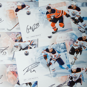 Complete Set of 23 Autographed 2017-18 Edmonton Oilers Team-Issued Oversize  Player Cards (7