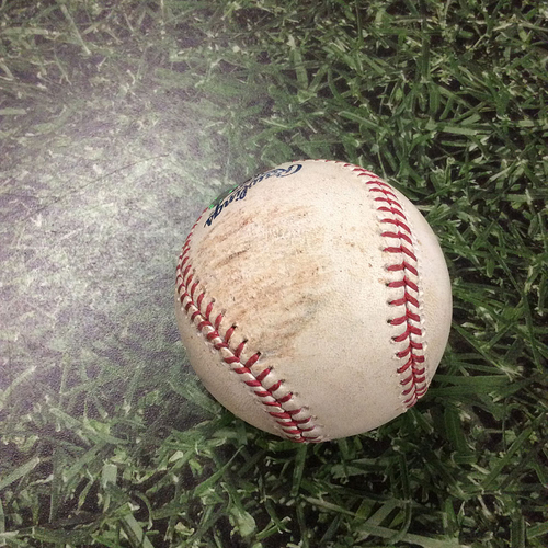 Photo of Game-Used Baseball 04/08/17 CHC@MIL - Kyle Hendricks - Travis Shaw: RBI Double