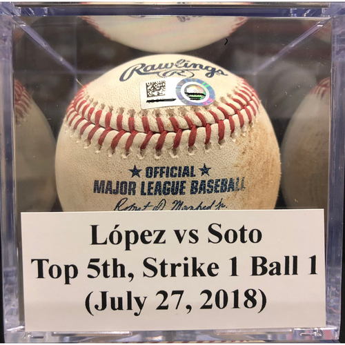Photo of Game-Used Baseball: López vs Soto, Top 5th, Strike 1 Ball 1 (July 27, 2018)