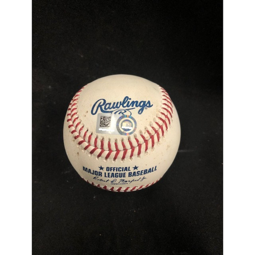 Photo of Christian Yelich Hits for Cycle -- Game-Used Baseball -- 3rd Inning -- Peralta to Peraza (Fly Out); to Gennett (1B); to Suarez (Ball in Dirt) -- Yelich Goes 6-for-6, Hits for the 8th Cycle in Brewers History -- 08/29/2018 -- MIL vs. CIN