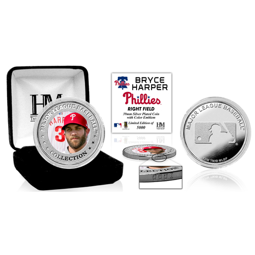 Serial #1! Bryce Harper Phillies Silver Color Coin