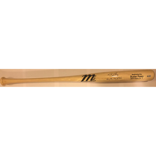 "Photo of Buster Posey Autographed ""10,12,14 WSC"" Game Model Marucci Bat"