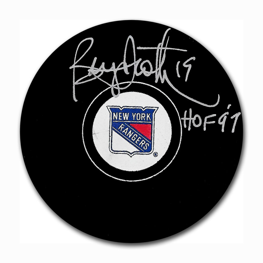 Bryan Trottier Autographed New York Rangers Puck
