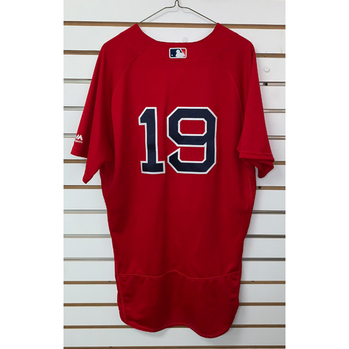Photo of Jackie Bradley Jr Game Used September 8, 2017 Home Alternate Jersey