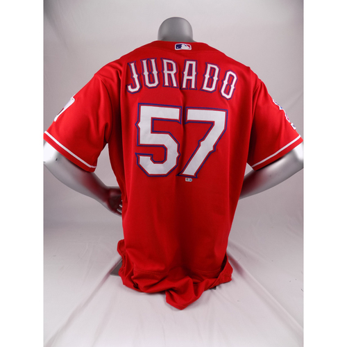 Photo of Final Season Game-Used Red Jersey - Ariel Jurado - 8/17/19