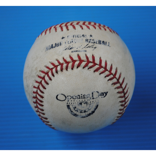 Photo of Game-Used Opening Day Baseball - Yankees @ Tigers - Batter - Chris Stewart, Pitcher - Drew Smyly - Top of 6th, Pitch in the Dirt - 4/5/13
