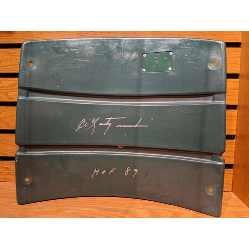 Photo of Carl Yastrzemski, HOF '89 Autographed Fenway Park Game Used Seatback