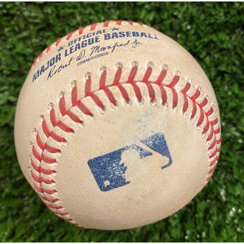 Photo of Eugenio Suarez Game Used Hit Single Baseball, Shane Greene pitched - September 30, 2020 - Wild Card Game 1