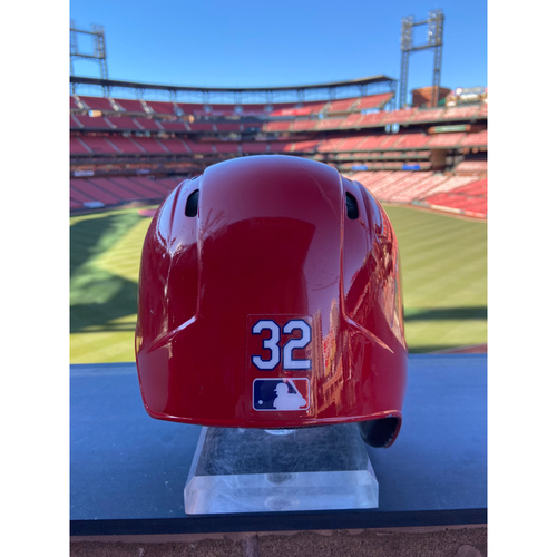 Photo of Cardinals Authentics: Game-Used Matt Wieters Home Red Helmet