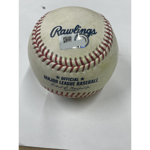 Photo of Game Used Baseball - Emmanual Clase Strikes out Wilson Ramos and Jonathan Schoop singles - 4-11-2021