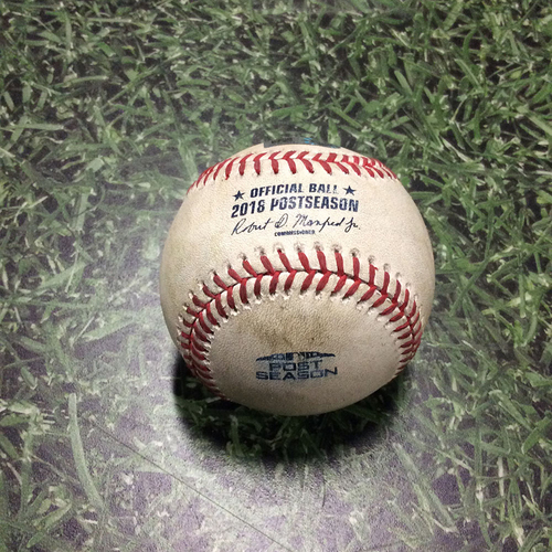 Photo of Game-Used Baseball NLCS Game 2 LAD@MIL 10/13/18 - Wade Miley - Chris Taylor: Single