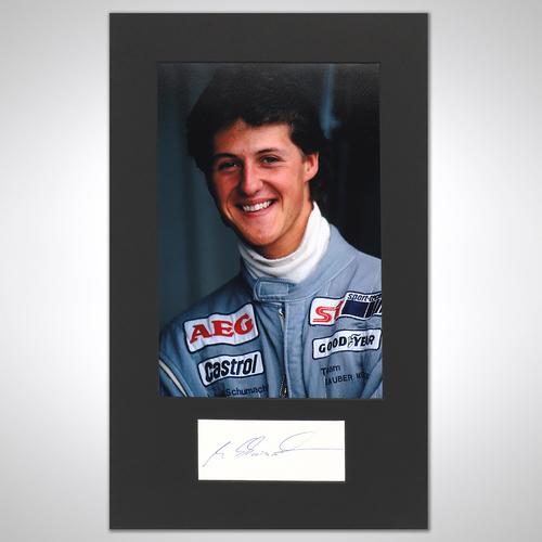 Photo of Michael Schumacher 1990 Photograph With Mounted Autograph