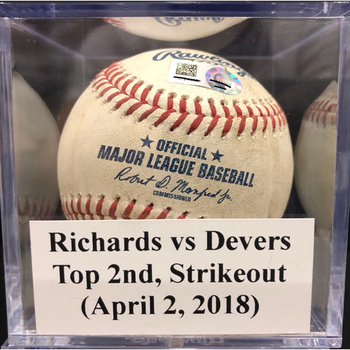 Photo of Game-Used Baseball: Richards vs Devers, Top 2nd, Strikeout (April 2, 2018) *Trevor Richards MLB Debut*
