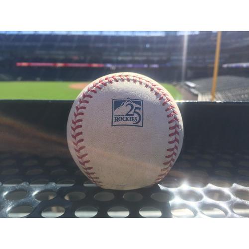 Photo of Colorado Rockies Game-Used Baseball - Andersonv. Machado - RBI Double to Blackmon, Turner scores - September 9, 2018