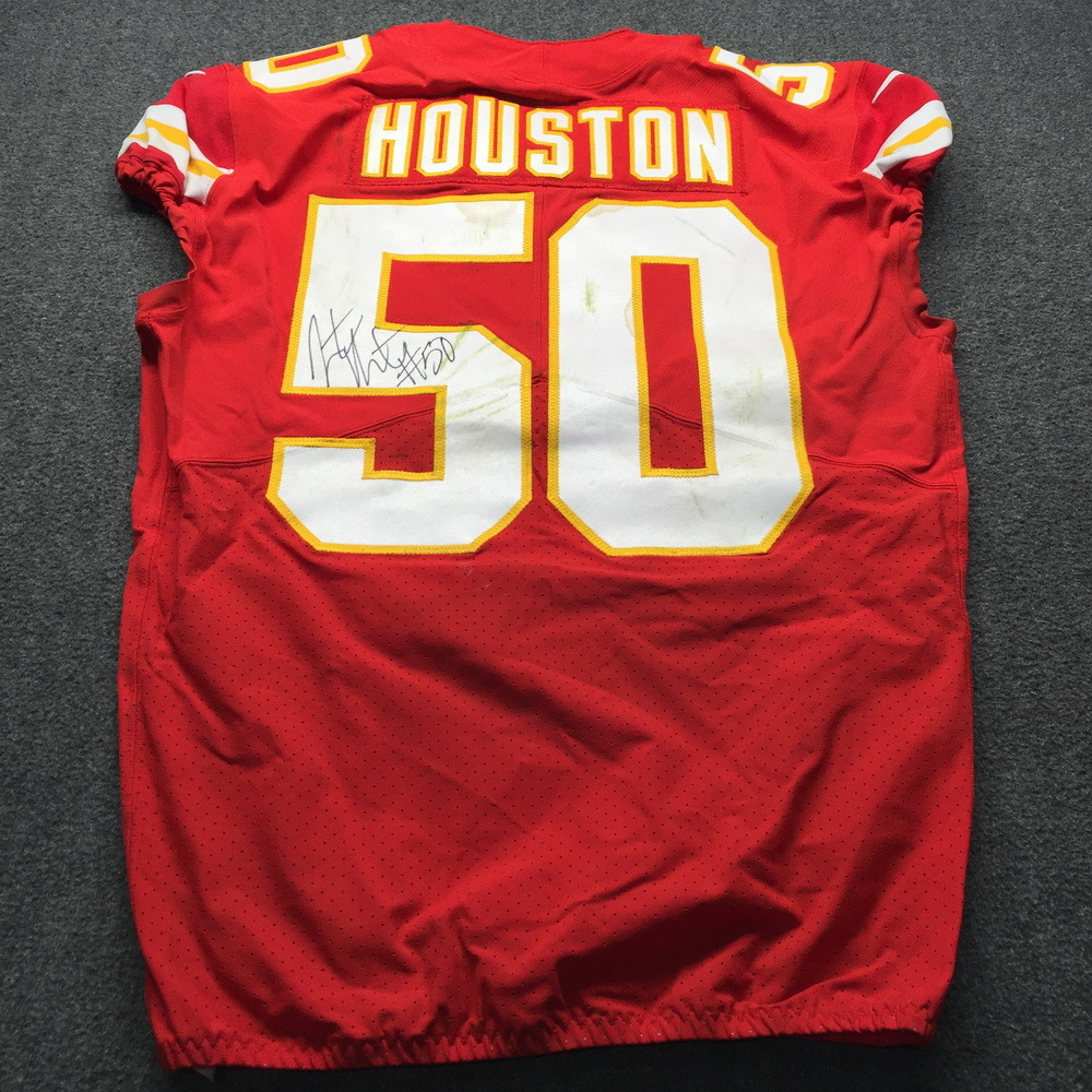 STS - Chiefs Justin Houston Signed Game Used Game Date 11.11.18 Jersey Size 44