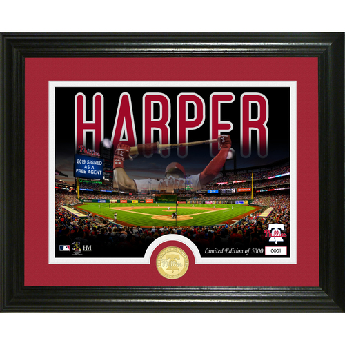 "Photo of Bryce Harper ""Phillies Signing"" Bronze Coin Photo Mint"