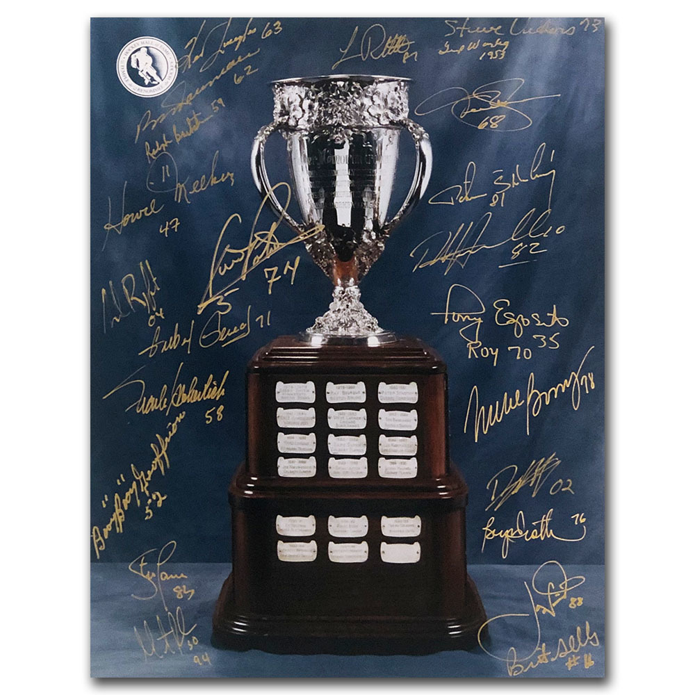 Calder Trophy 11X14 Signed by 23 Past Winners - Brodeur, Geoffrion, Bossy & More