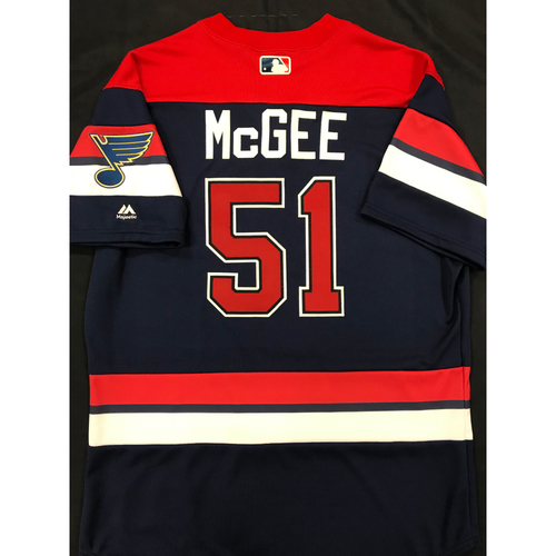 Photo of Willie McGee Team Issued 2019 St. Louis Blues Themed Cardinals Jersey (Size 46)