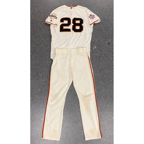 Photo of 2018 Uniform Set - Game Used Home Crème Jersey and Team Issued Pants worn by #28 Buster Posey - Jersey Authenticated for 7/15 vs OAK and 7/29 vs MIL (4-5, 3 RBIs, 2 Runs) - Size 46 and Size 34-44-34
