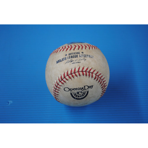 Photo of Game-Used Baseball - 4/5/13 - KC at PHI - Batter - Alcides Escobar, Pitcher - Jeremy Horst, Top of 6, Foul Tip - Opening Day