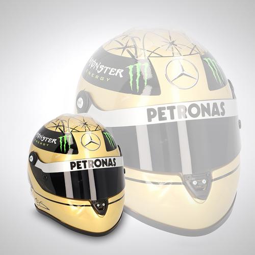 Photo of Michael Schumacher 2011 Gold 1:2 Scale Helmet