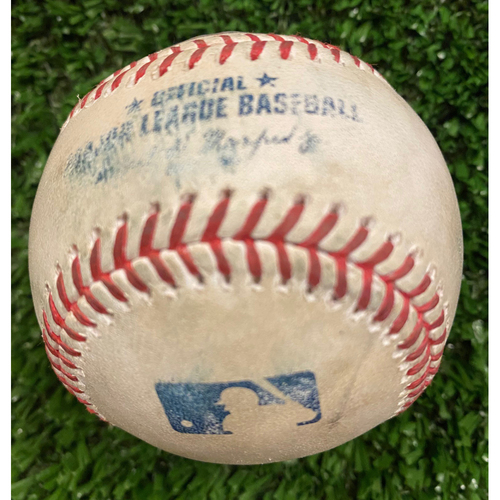 Photo of Nick Markakis Game Used Hit Single Baseball, Archie Bradley pitched - September 30, 2020 - Wild Card Game 1