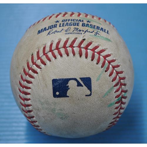 Photo of Game-Used Baseball - 8/8/2020 - DET @ PIT - Pitcher - Derek Holland vs Batter - Jacoby Jones, Top 6, Home Run