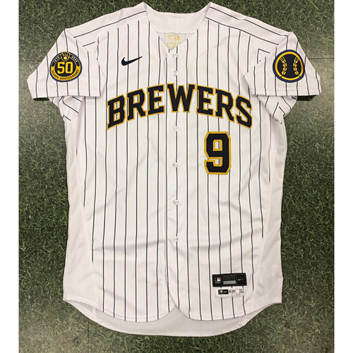 Photo of Manny Pina 2020 Team-Issued Home Pinstripe Jersey