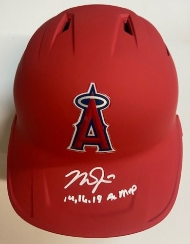 "Photo of Mike Trout Autographed ""14,16,19 AL MVP"" Angels Helmet (Double Flapped)"