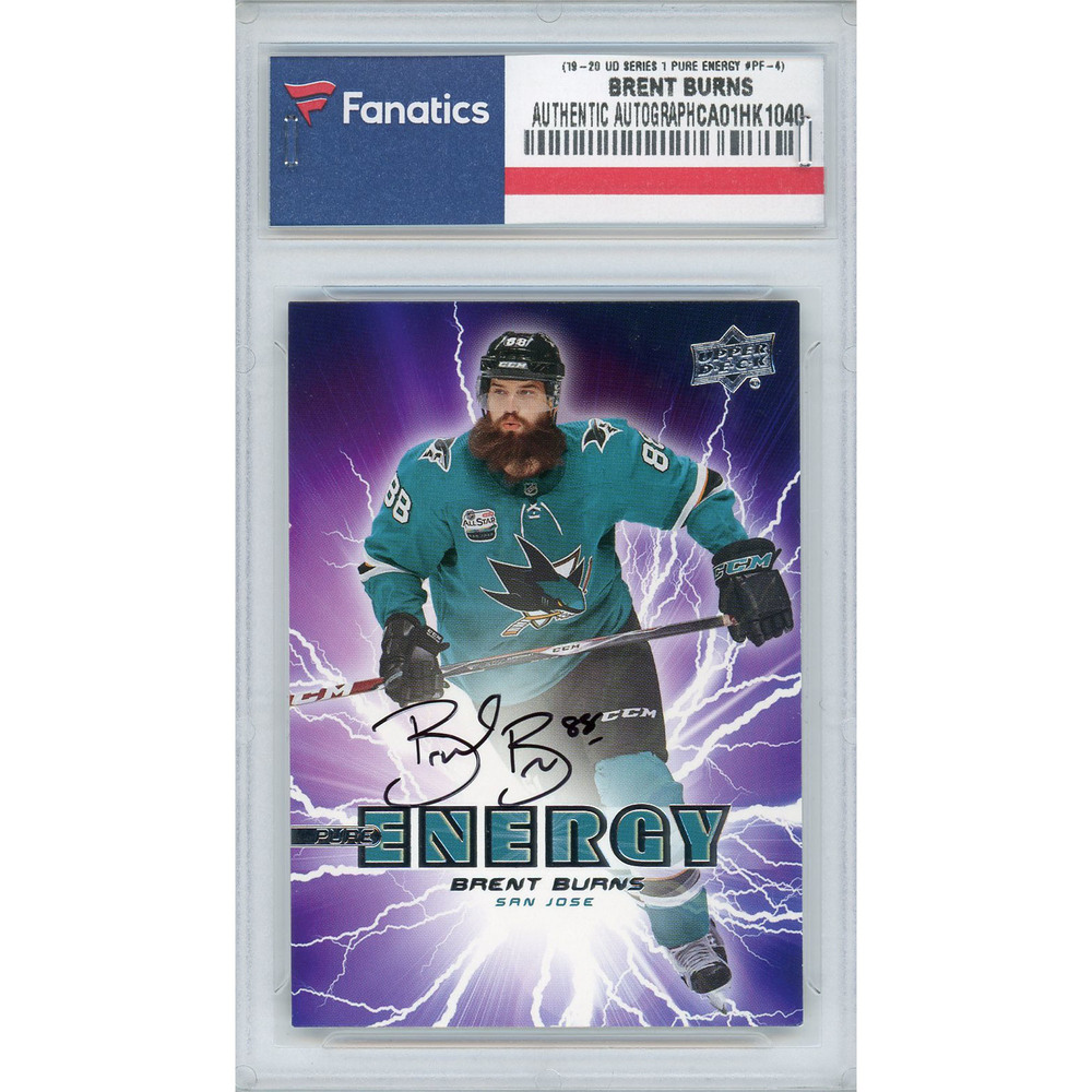 Brent Burns San Jose Sharks Autographed 2019-20 Upper Deck Series One Pure Energy #PE-4 Card