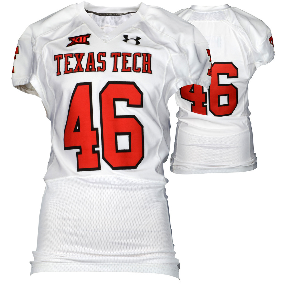 Texas Tech Red Raiders Game-Used White #46 Jersey Used During Victories Against Arkansas and Texas during the 2015 Season - Size 46
