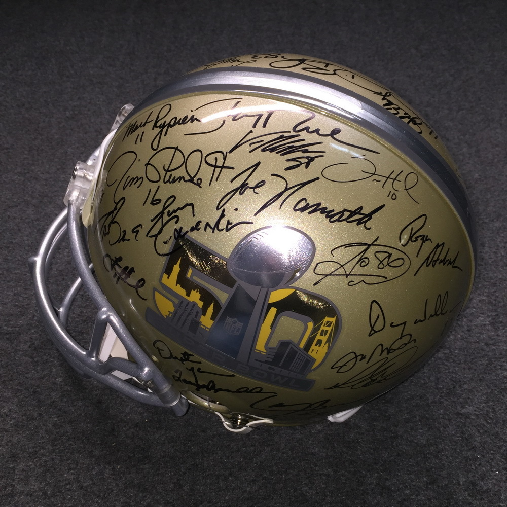 NFL - SB50 MULTI SIGNED PROLINE HELMET SIGNED BY FORMER SB MVP'S (INCLUDING TOM BRADY, PEYTON MANNING, AARON RODGERS, JOE NAMATH, TERRY BRADSHAW, JOE MONTANA, JERRY RICE, DREW BREES, EMMITT SMITH)