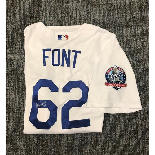 Photo of Kirk Gibson Foundation Auction: Wilmer Font 2018 Game-Used Autographed Los Angeles Dodger Jersey