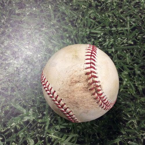 Photo of Game-Used Baseball 07/02/17 MIA@MIL - Junior Guerra - Giancarlo Stanton: Strikeout Swinging