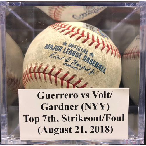 Photo of Game-Used Baseball: Guerrero vs Voit/Gardner (NYY), Top 7th, Strikeout/Foul (August 21, 2018)