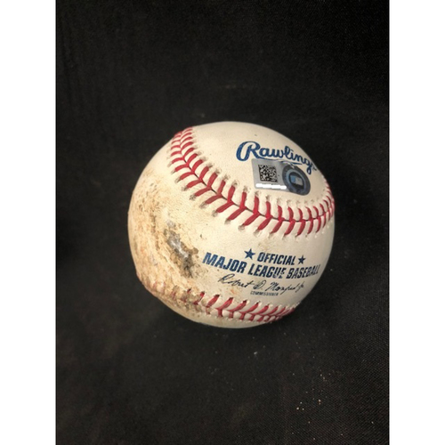 Photo of Christian Yelich Hits for Cycle -- Game-Used Baseball -- 5th Inning -- Peralta to Herrera (Walk); to Hamilton (Foul) -- Yelich Goes 6-for-6, Hits for the 8th Cycle in Brewers History -- 08/29/2018 -- MIL vs. CIN