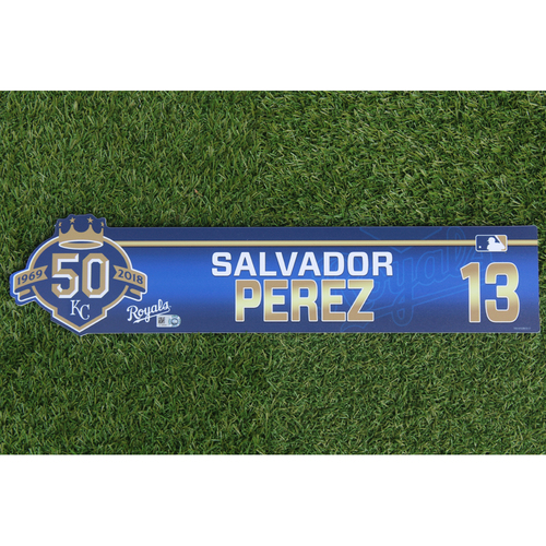 Photo of Game-Used Locker Nameplate: Salvador Perez
