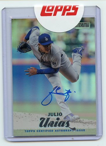 Photo of 2017 Stadium Club Autographs Rainbow Foil #SCAJU Julio Urias Exchange Card 9/10