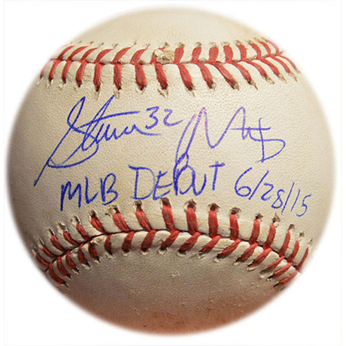 "Photo of Steven Matz #32 - Autographed Game Ready Baseball - Inscribed ""MLB Debut 6/28/15"""