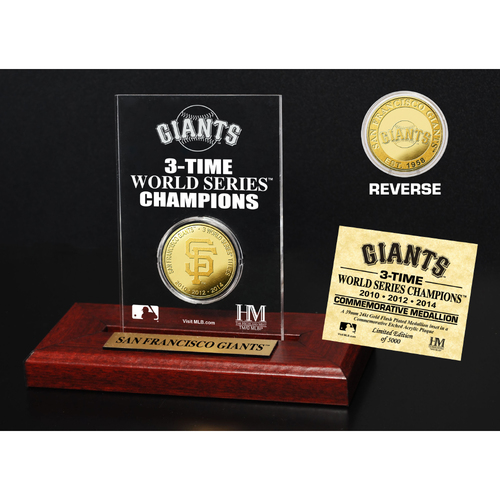 Photo of San Francisco Giants World Series Champions Gold Coin Etched Acrylic