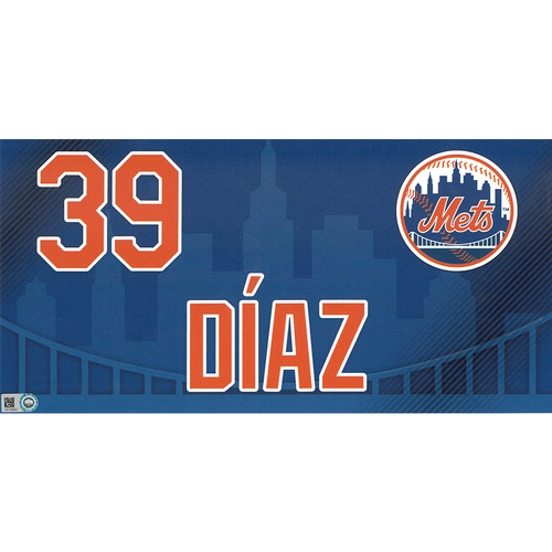 Photo of Edwin Diaz #39 - Game-Used Locker Nameplate - Mets vs. Nationals - 4/4/19