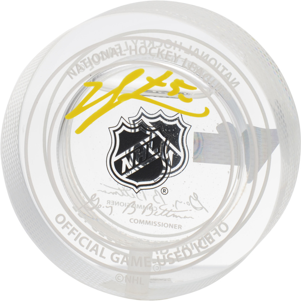 Jordan Binnington St. Louis Blues Autographed 2019 Stanley Cup Champions Crystal Puck - Filled with Ice from the 2019 Stanley Cup Final