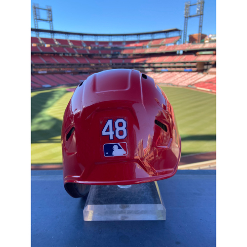 Photo of Cardinals Authentics: Game-Used Harrison Bader Home Red Helmet