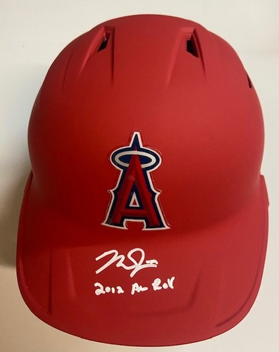 """Photo of Mike Trout Autographed """"2012 AL ROY"""" Angels Helmet (Double Flapped)"""