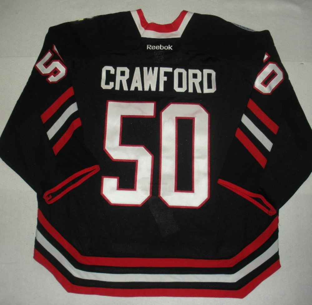 Corey Crawford - 2014 Stadium Series - Chicago Blackhawks - Black Game-Worn  Jersey - Worn in First Period bc5e84bd2