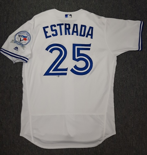 Photo of Authenticated Game Used Jersey - #25 Marco Estrada (July 29, 2016). Estrada got his 6th win of the season with 6 IP, 4 runs (3 earned), 5 hits, 2 walks and 6 strikeouts. Size 46
